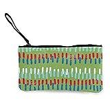 mengmeng Primary Stitches - Monedero de viaje verde para maquillaje con asa bolsa de lona con cremallera