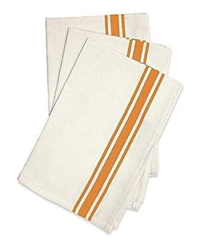 Aunt Martha s Stitch  Em Up Vintage Box Stripe Towels 18 by 28-Inch Orange on Natural 3-Pack