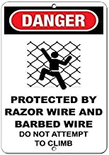 """Kathelgyn Metal Tin Sign Wall Decor Danger Protected by Razor & Barbed Wire Hazard Sign for Outdoor Indoor Aluminum Sign 11.8""""x7.8"""""""