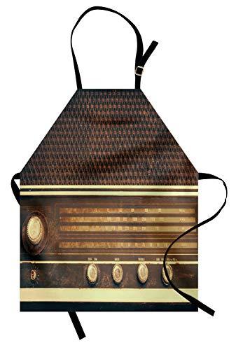 ABAKUHAUS Vintage Delantal de Cocina, Antiguo Retro Estilo Años 60 Radio Tocadiscos...