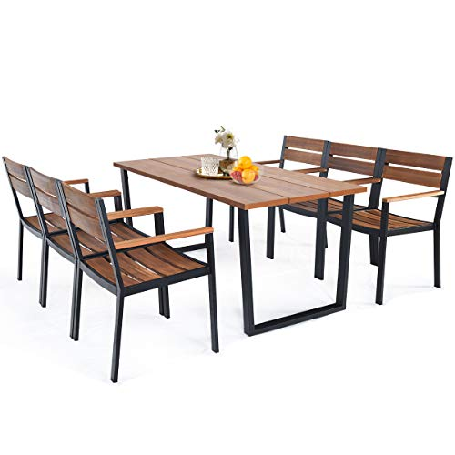 HAPPYGRILL 7 Piece Patio Dining Set Outdoor Dining Furniture with 6 Armchair Heavy Duty Steel Frame Acacia Wood Table Top Umbrella Hole Patio Furniture Set for Backyard Garden Poolside