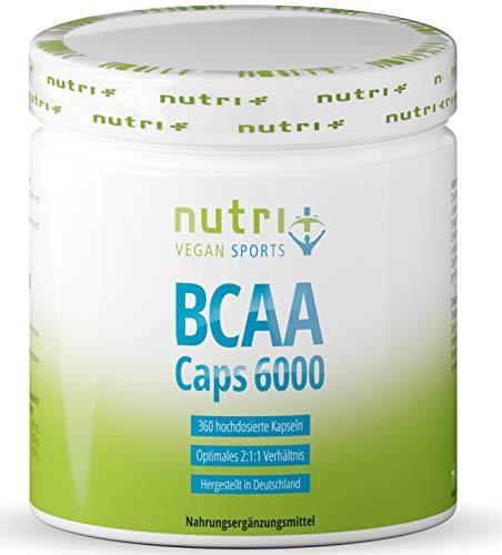 BCAAs Kapseln vegan + hochdosiert - 360 Caps - essentielle vegane Aminosäuren - Nutri-Plus BCAA 2-1-1 ohne Magnesiumstearat, Gelatine und Zucker - Aminos für Männer und Frauen