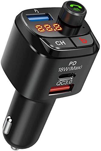 Nulaxy Transmisor FM Bluetooth 5.0 para Coche, QC3.0 y PD 18W Adaptador de Radio Inalámbrico Bluetooth/Kit de Coche con Llamadas Manos Libres, Asistente de Google Siri, Amplificador de Graves - NX12