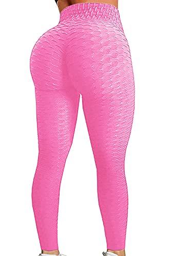 Pau1Hami1ton Damen Leggings, Sporthose Fitnesshose Training Laufhose Sport Tights Hohe Taille Yogahose GP-11(Pink,S)