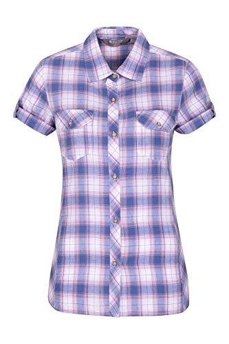 Mountain Warehouse Holiday Baumwollhemd für Damen - Kurzärmliges Oberteil für Damen, Freizeithemd, leichtes Sommerhemd, atmungsaktive Bluse - Für Reisen, Wandern Violett 50 DE (52 EU)