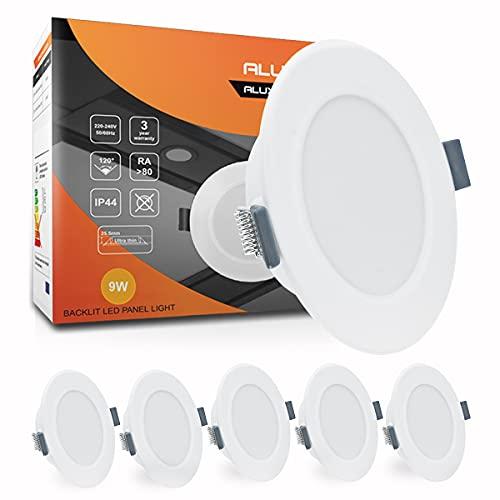 Downlight LED Techo Foco Empotrable ALUSSO 9W Redondo Extraplano Panel LED Blanco Cálido 3000K 720LM IP44 Ojos de Buey LED Para Cocina, Dormitorio, Pasillo, 6 Pack