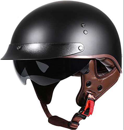 Medio Casco De Motocicleta, Casco Abierto De Protección De Seguridad, Certificado DOT, Casco Para Scooter, Chopper, Monopatín, Ciclismo, Joven, Hombre, Mujer Black,L