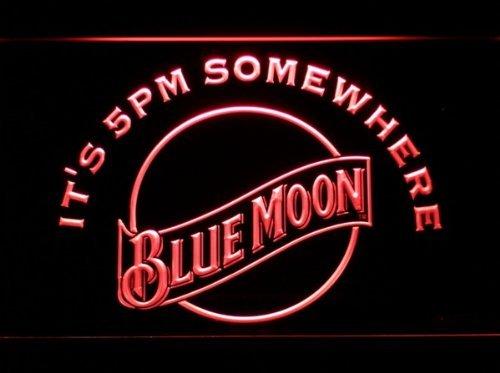 It's 5 Pm Somewhere Blue Moon Cerveza La Signatura LED El Acrílico Signo Iluminación El Bar Los Personajes De La Publicidad De Neón De Colour Rojo De Escudo