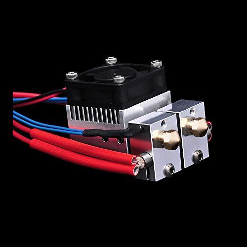 U3D 2 in 2 Out Extruder 12V 40W Dual Color Cooling Chimera Hotend Upgrade Multi Color for 3D Printer. (12V Brass Nozzle Kit)