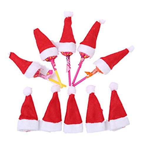 """30 Pcs 2.7"""" Mini DIY Christmas Hat for Lollipop Candy Cover, Mini Christmas Santa Claus Hat Lollipop Top Wraps Toppers Decor Doll Craft"""