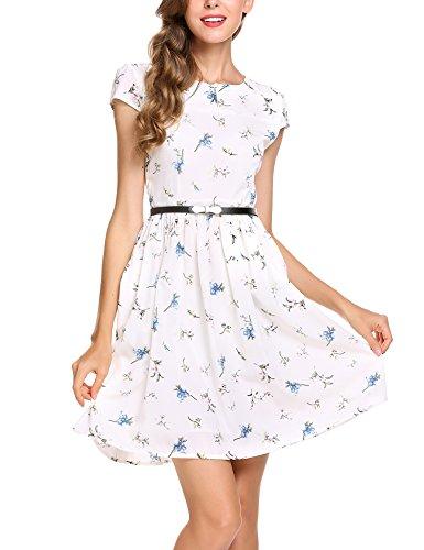 Zeagoo Damen Sommerkleid Elegant Blumenmuster Kurzarm Chiffonkleid Kleid mit Gürtel, Weiß, Gr.- 38/ Etikettengröße- Medium