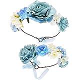 Minkissy 2pcs fleur bandeau couronne couronne bébé fille et maman guirlande bandeau festivals de mariage accessoires de plage pour parent-enfant (bleu ciel)