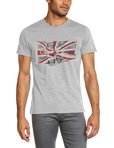 Camiseta vintage Hombre,Pepe Jeans Flag Logo, Gris (Grey Marl 933), X-Large para Hombre