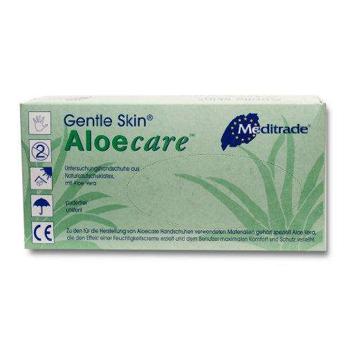 Meditrade 1231XS Aloecare Aloe Vera - Guantes de examen de látex para piel, sin polvo, antiestéril, extra pequeños (paquete de 100)