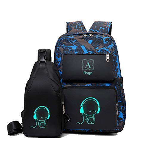 Asge Backpacks for Boys School Bags for Kids Luminous Bookbag and Sling Bag Set