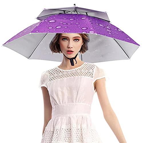 Settoo Regenschirm Hut , Angeln Hut,Faltbarer , Anti-UV,Unverzichtbar für Strand-, Camping- und Outdoor-Aktivitäten Regenschirm Hut
