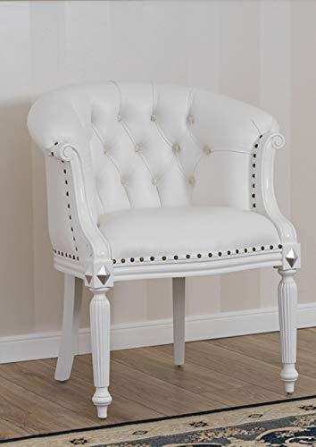 SIMONE GUARRACINO LUXURY DESIGN Fauteuil Isabelle Style Baroque Moderne Blanc laqué et Feuille Argent Similicuir Blanc Boutons Crystal SW