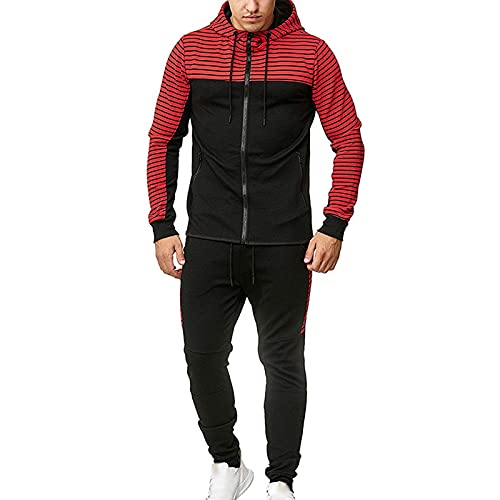 Trajes de Seguimiento para Hombres Conjunto de Cremallera Completa Casual Sudadera con Capucha y Pantalones Rayas de Moda para los Conjuntos de Jogging de Hombres 2 Red Stripes-S