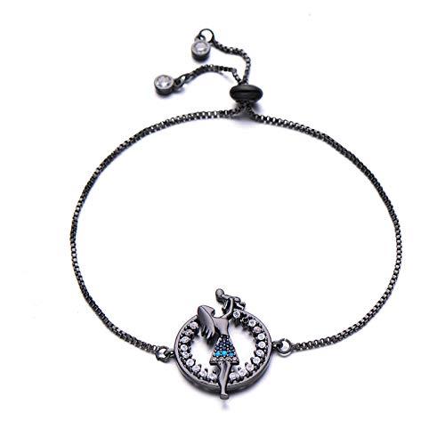 Jewellery Bracelets Bangle For Womens Copper Cubic Zirconia Figure Charm Bracelet Femme Birthday Gift Adjustable Chain Bracelets For Women Black