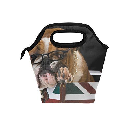 Lunch Tote Bag Leuke Dier Engels Bulldog Vlag Koeler Handtassen met Rits voor Picnic