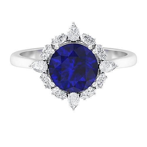 Rosec Jewels 14 quilates oro blanco redonda pear-shape marquise-shape H-I Blue Diamond Zafiro azul creado en laboratorio.
