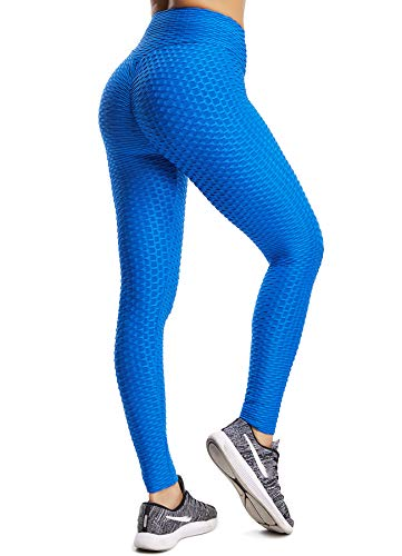 STARBILD Pantalon de Compression Femme Leggings de Sport Anti-Cellulite Taille Haute Plissé derrière Slim Push Up Butt Lifter Yoya Gym Jogging, Bleu profond M