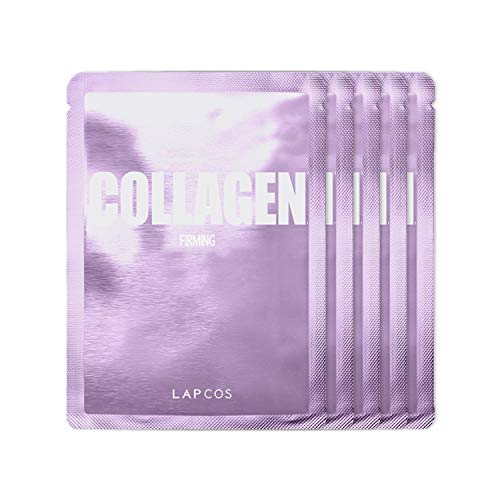 LAPCOS Collagen Sheet Mask, Firming Daily Face Mask with Collagen Peptides for Wrinkles & Dark Spots, Korean Beauty Favorite, 5-Pack