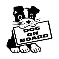 アウトドア ステッカー 13.9X14.3CM犬オンボードの漫画車のステッカーの装飾のビニールデカール子犬ペットラブブラック/シルバー アウトドア ステッカー (Color Name : Black)