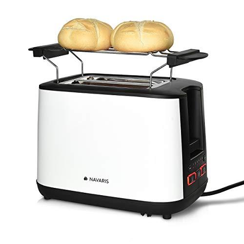 Navaris Doppelschlitz Toaster mit Brötchenaufsatz - 2 extragroße Toast Schlitze - 6 Stufen - automatische Brotzentrierung - 1000W - Weiß