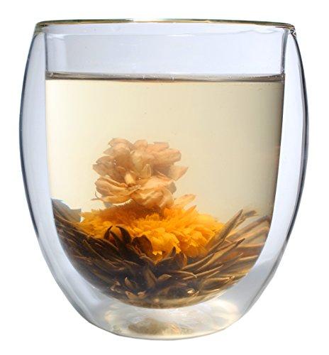 Feelino XXL 400ml doppelwandiges Thermo-Glas 'Ice-Bloom' inkl. einer Teeblume, extra großes Teeglas/Kaffeeglas mit Schwebeeffekt - auch als tolles Geschenk in schöner Box