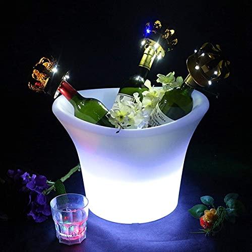 GAXQFEI Barril de Whi, Luces de Cubo de Hielo Del Barril de Roble, Cubo de Refrigerador de 5 Listos con 7 Colores Que Carga la Decoloración a Prueba de Agua para Hasta 3 Bar de Vinos Plástico Lumino