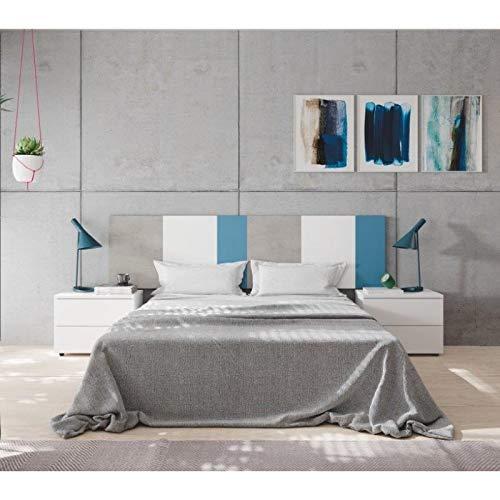 KITKAY Dormitorio Matrimonio cabecero y Dos mesillas Azul, Blanco y Gris Cemento.