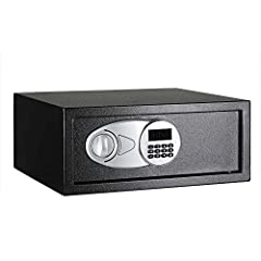 0.7-cubic-foot security safe with electronic lock and 2 emergency override keys Steel construction with carpeted floor to protect against scratches and damage; Safe is not fireproof or waterproof 2 live-door bolts and pry-resistant concealed hinges R...
