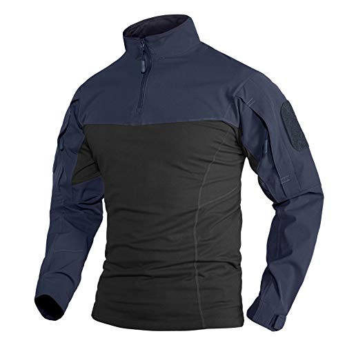 Army Shirt Herren Langarm T-Shirt Taktisches Baumwoll Military Jacke Tactical Cargo Leichtes Shirt Denim Militär Shirts Schwarz Blau