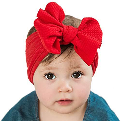 Yookstar Baby Stirnband mit Schleife Haarband Baby Stirnbänder Baby Mädchen Weiche Headwraps Turban Bogen verknotete Haarband für Kleinkind,Babyschmuck Babygeschenke & Taufe,rot