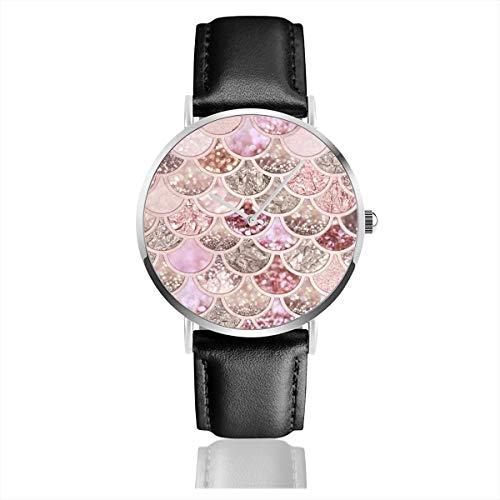Preisvergleich Produktbild Rosegold Blush Glitter Ombre Meerjungfrauen-Waage Muster Lederarmband Armbanduhr Casual Classic Edelstahl Quarz Business Uhr