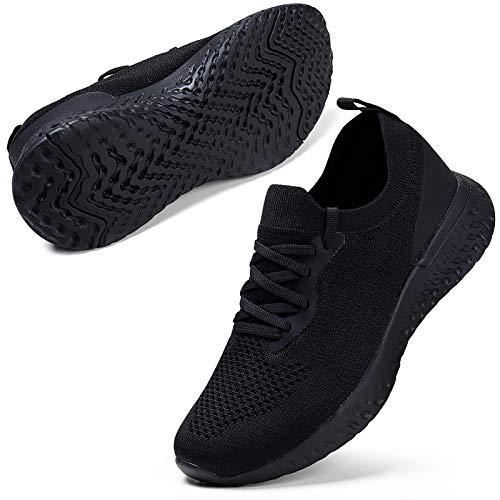 ZHR Damen Sneaker Atmungsaktiv Mesh Laufschuhe Sportschuhe Turnschuhe Leicht Traillauf Fitness Schuhe Weiblich Schwarz EU38