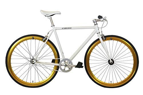 FabricBike- Bicicleta Fixie, piñon Fijo, Single Speed, Cuadro Hi-Ten Acero, 10Kg (S-49cm, White & Gold)