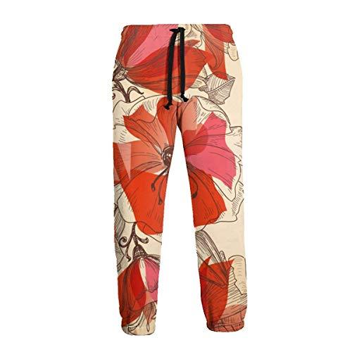 AEMAPE Pantalones Deportivos Rojos Pintados a Mano con Flores para Hombre Pantalones Casua con Bolsillos