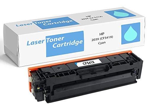 Tóner Cian XL de Alta Capacidad (Nuevo, no Reciclado) CF541X 203X Compatible con Impresoras HP Color Laserjet Pro M254dw M254nw MFP M280nw M281fdn M281fdw CF541A 203A Cartucho Azul Cyan reemplazo