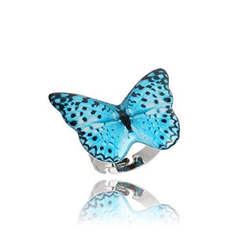 Anillo Mariposa Azul Cielo de Lunares Lindo para Ella