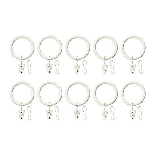 Ikea IKE-502.172.38 SYRLIG - Anillas para cortinas con pinzas y gancho (38 mm de diámetro), color blanco