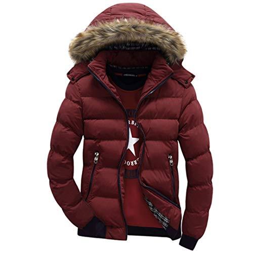 Manteaux épais pour Hommes d'hiver à Capuchon en Duvet Parka Chaud Vestes de Mode pour Hommes Pardessus Red XXXL