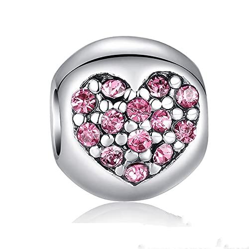 Plata De Ley 925, Amor De Mi Vida, Corazón, Encanto Rosa para Pulsera, Collar, Accesorios, Cuentas, DIY, Fabricación De Joyas para Mujer D6