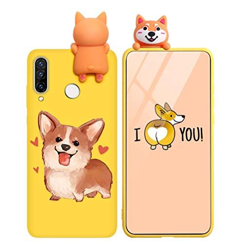 KAPUCTW Capa para Samsung Galaxy A50 / A30S / A50S - Linda estampa de desenho animado 3D silicone TPU macio capa para celular Samsung A50 para crianças meninos e meninas, à prova de choque, fina, amarela para cachorro