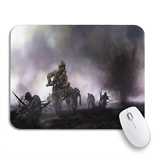 Adowyee Gaming Mouse Pad American Soldiers on Battlefield Ww2 of Platoon Attacking Explosions 9.5'x7.9' Nonslip Rubber Backing Computer Mousepad for Notebooks Mouse Mats