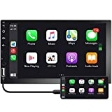 Double Din Car Stereo Camecho 7'' 1080P HD Touch Screen D-Play Universal Car Multimedia Player Support Android & iOS Mirror Link with Bluetooth/FM/USB/RCA/AUX/Backup Camera Input
