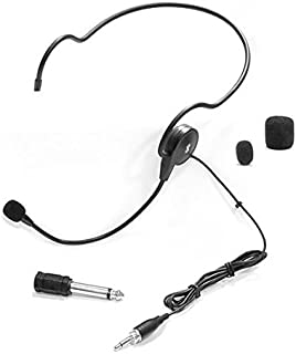 Double Over Ear Microphone Headset - Professional Hands Free Cardioid Wired Audio Boom Condenser Microphone Headset w/ 3.5mm / 1/4