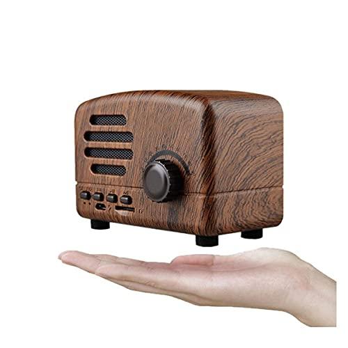 TYGH Radio Portátil Altavoces Blueteeth Hecho A Mano Retro Estéreo De Madera Blueteeth 4.2 Mini Altavoz con Subwoofer Súper Bajo con Radio FM