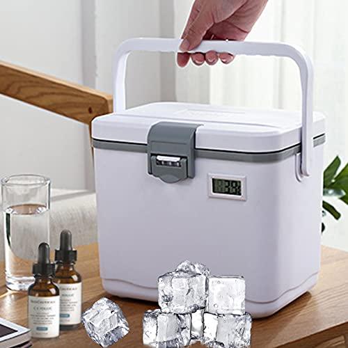 Medic-amento-s Refrigerador Caja, Almacenamiento Refrigeradora Maleta, Triple Aislamiento, Pantalla Temperatura, Temperatura Constante 10h, Bolsa Hielo Mantener Caliente,Gris